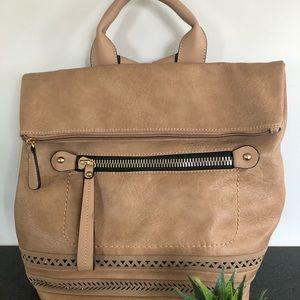 Olivia Fold Over  Lux Backpack-Camel
